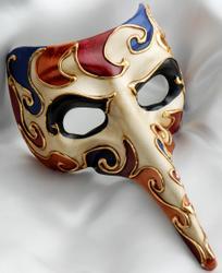 Arlequin venetian mask on white satin
